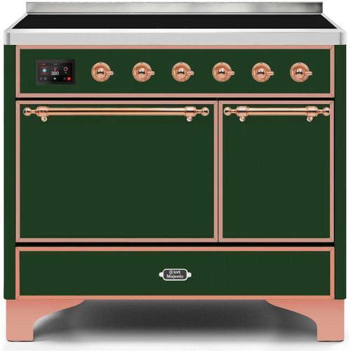 Majestic II 40 Inch Electric Freestanding Range in Emerald Green with Copper Trim