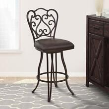 "Armen Living Celeste 26"" Counter Height Metal Swivel Barstool in Bandero Espresso Fabric and Auburn Bay Finish"