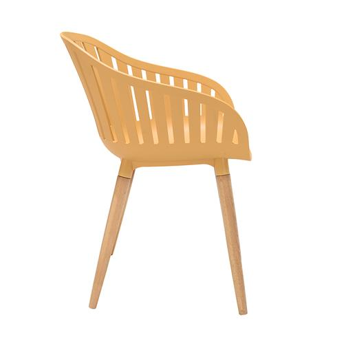 Armen Living - Nassau Outdoor Arm Dining Chairs in Honey Yellow Finish with Wood legs- Set of 2