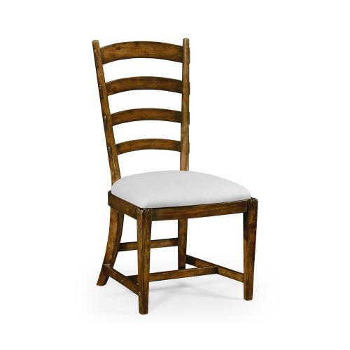 French Ladderback Style Carver Side Chair, Upholstered in COM
