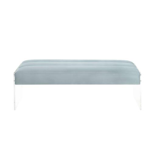 Tov Furniture - Jax Light Grey Bench with Lucite Sides