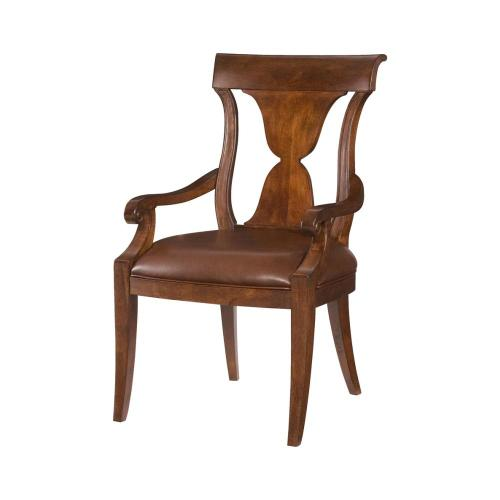 Leather Splat Back Arm Chair -Import
