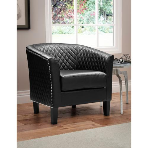 Upholstered Quiltback Barrel Accent Chair in Midnight Black