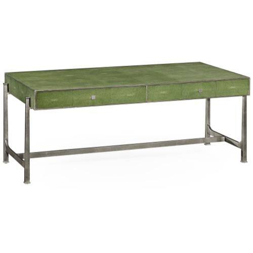 Green faux shagreen silver coffee table