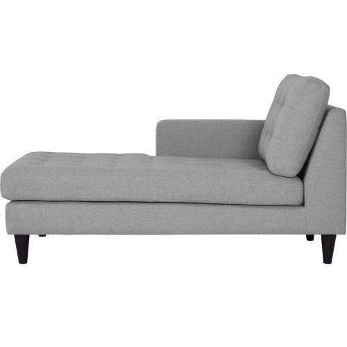 Empress Left-Arm Upholstered Fabric Chaise in Light Gray