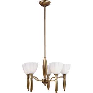 5-lite Ceiling Lamp, Bronze W/white Glass, 60wx5/b Type