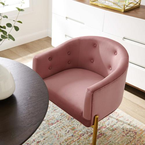 Modway - Savour Tufted Performance Velvet Accent Chair in Dusty Rose