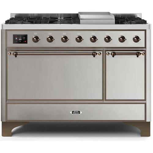 Majestic II 48 Inch Dual Fuel Natural Gas Freestanding Range in Stainless Steel with Bronze Trim