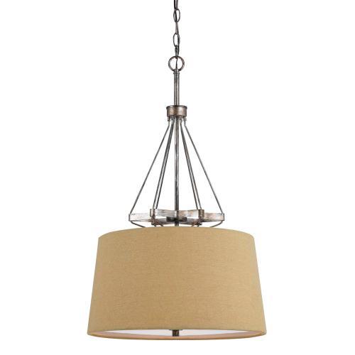 Cal Lighting & Accessories - 60W X 3 Cresco Pendant W/Burlap Sh (Edison Bulbs Not included)