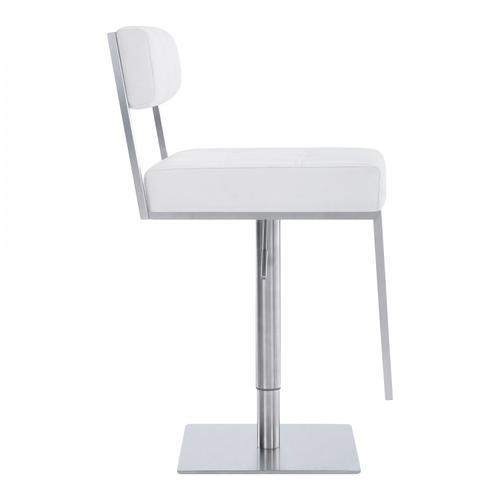 Michele Contemporary Swivel Barstool in Brushed Stainless Steel and White Faux Leather