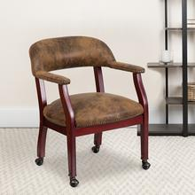 View Product - Bomber Jacket Brown Luxurious Conference Chair with Accent Nail Trim and Casters
