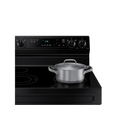 Samsung - 6.3 cu. ft. Smart Freestanding Electric Range with Steam Clean in Black