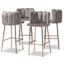 See Details - Baxton Studio Kaelin Luxe and Glam Grey Velvet Fabric Upholstered and Rose Gold Finished 4-Piece Bar Stool Set
