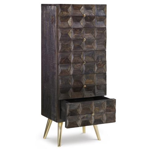 5-drawer and Flared Legs Cabinet, Smokey Grey and Gold