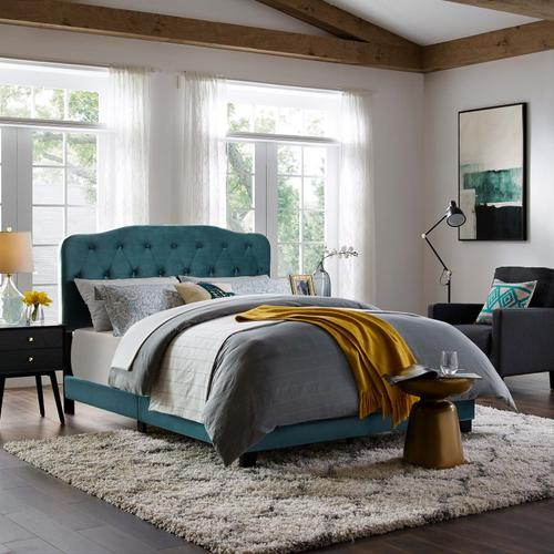 Modway - Amelia Twin Performance Velvet Bed in Sea Blue