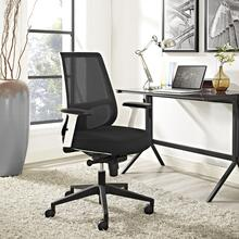 Pump White Frame Fabric Office Chair in Black