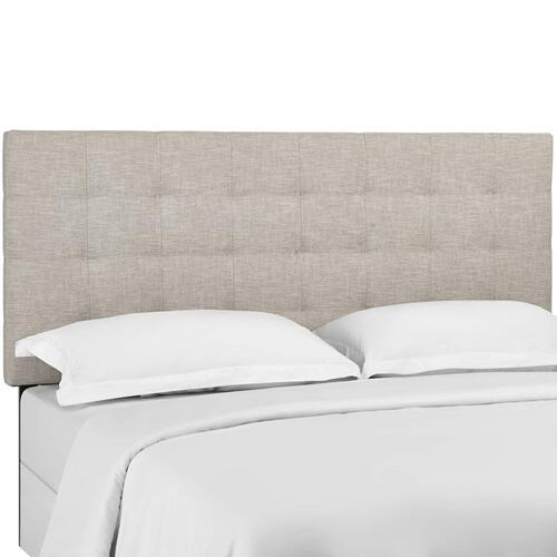 Paisley Tufted Twin Upholstered Linen Fabric Headboard in Beige