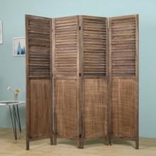 See Details - 7107 LIGHT BROWN Rustic Shutter 4-Panel Room Divider