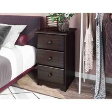 See Details - 5526 - 100% Solid Wood 3-Drawer Night Stand, Java