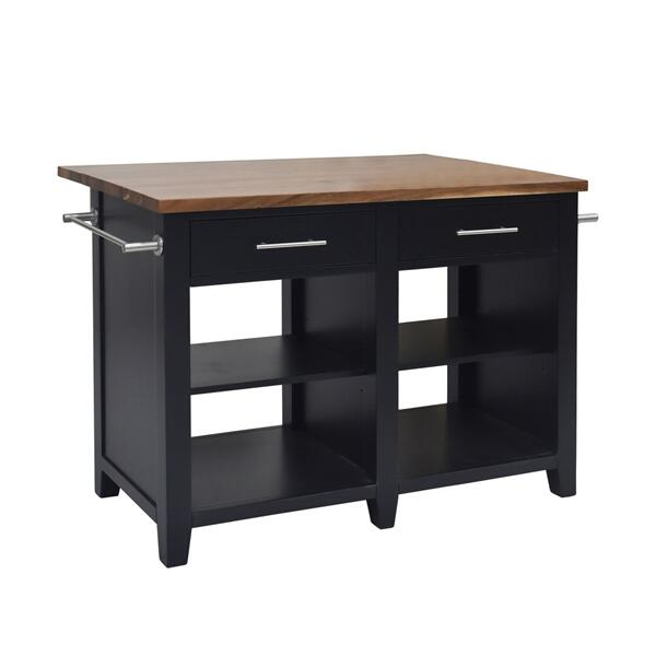 "Hilton Counter Kitchen Island (9"" Leaf), Black"