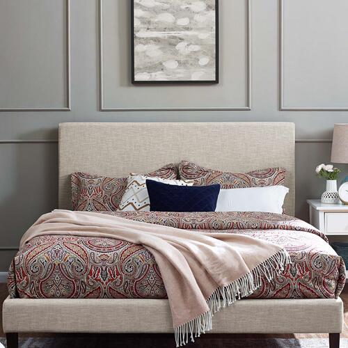 Modway - Taylor King and California King Upholstered Linen Fabric Headboard in Beige
