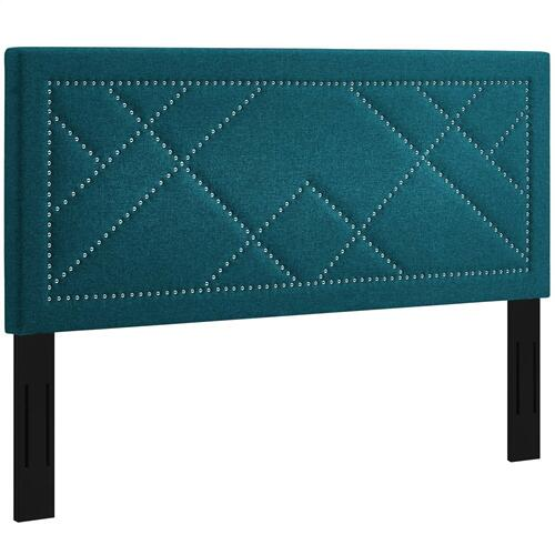 Reese Nailhead King and California King Upholstered Linen Fabric Headboard in Teal