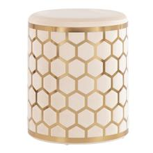 Honeycomb Ottoman - Gold Steel, Cream Velvet