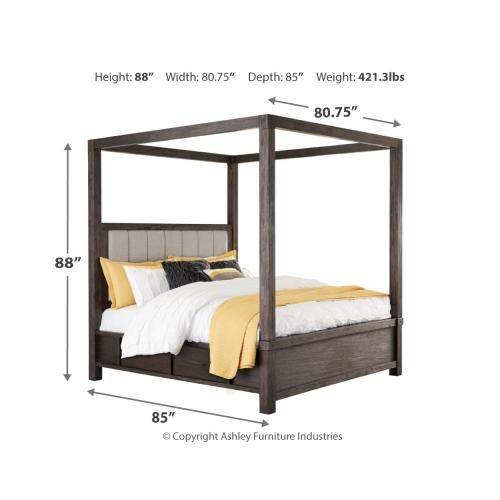 Ashley Furniture - Dellbeck California King Canopy Bed With 4 Storage Drawers