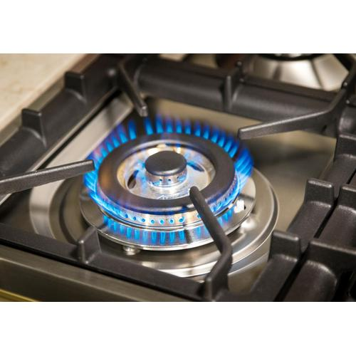 Nostalgie 60 Inch Dual Fuel Natural Gas Freestanding Range in Blue with Brass Trim