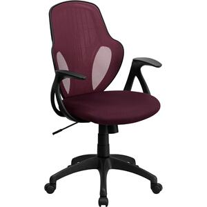 Mid-Back Executive Burgundy Mesh Chair with Nylon Base