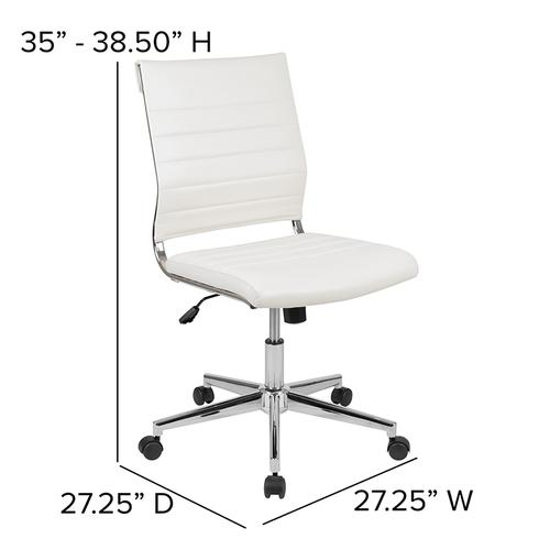 Gallery - Mid-Back Armless White LeatherSoft Contemporary Ribbed Executive Swivel Office Chair