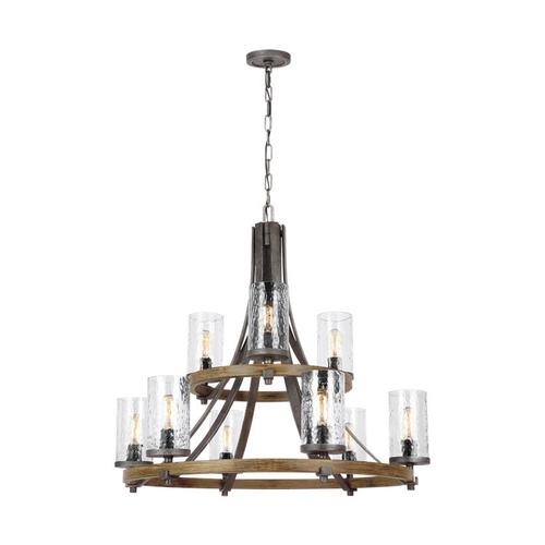 Angelo Two-Tier Chandelier Distressed Weathered Oak / Slate Grey Metal