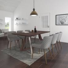 Drake/Bianca 7pc Dining Set, Walnut/Walnut & Grey