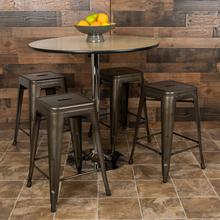 "24"" High Metal Counter-Height, Indoor Bar Stool in Gun Metal Gray - Stackable Set of 4"