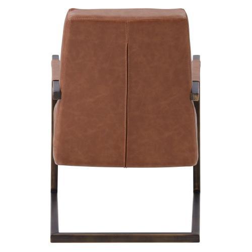 Jonah KD PU Accent Arm Chair, Antique Cigar Brown