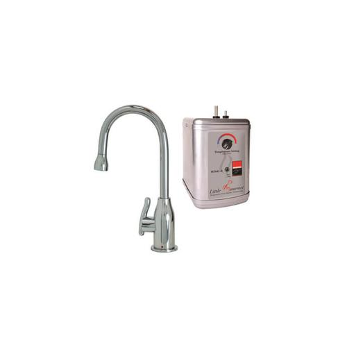 Hot Water Faucet with Modern Curved Body & Handle & Little Gourmet Premium Hot Water Tank - Antique Brass