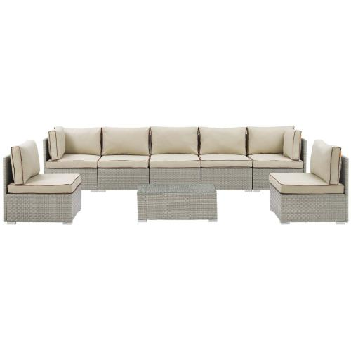 Repose 8 Piece Outdoor Patio Sectional Set in Light Gray Beige