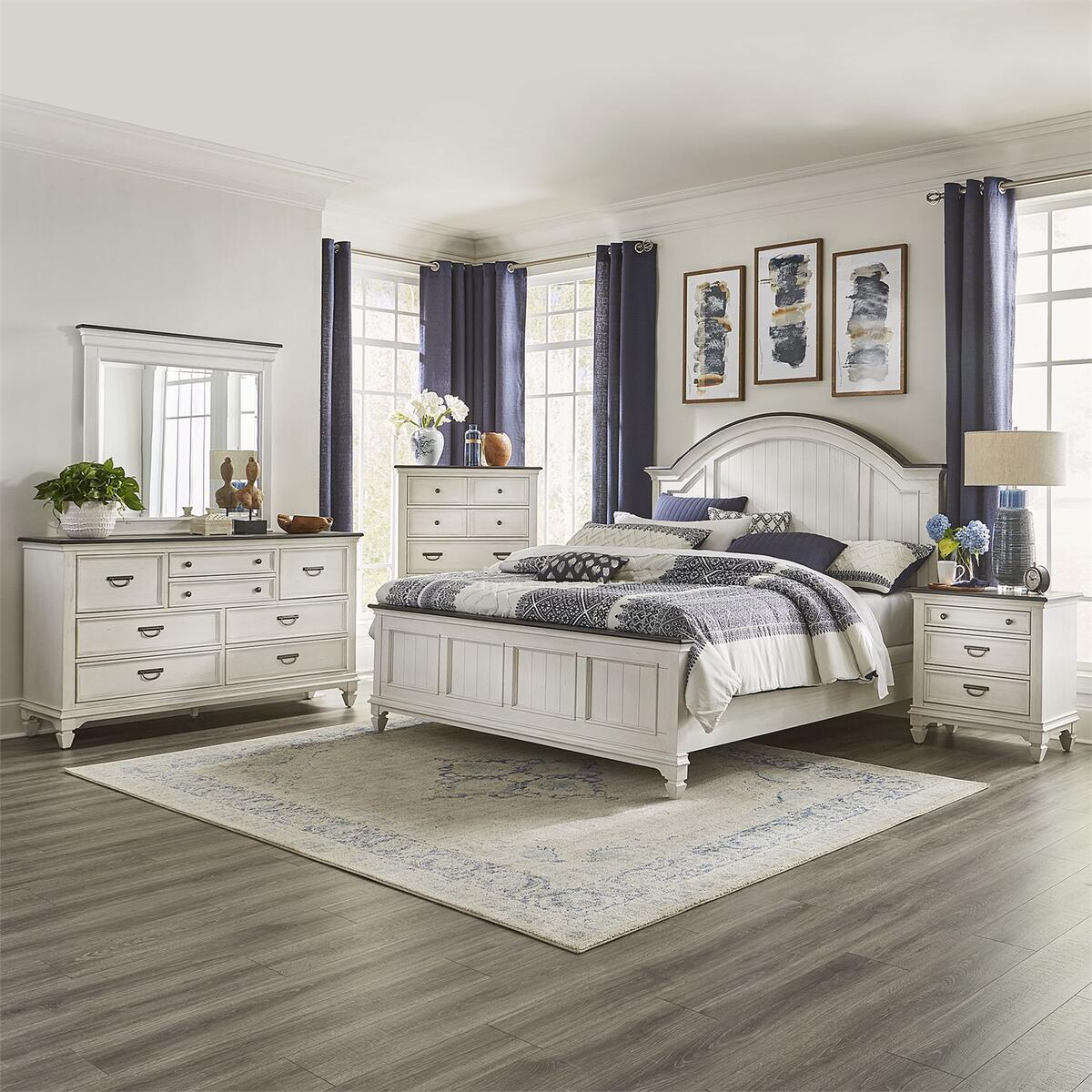 Queen Arched Panel Bed, Dresser & Mirror, Chest, Night Stand