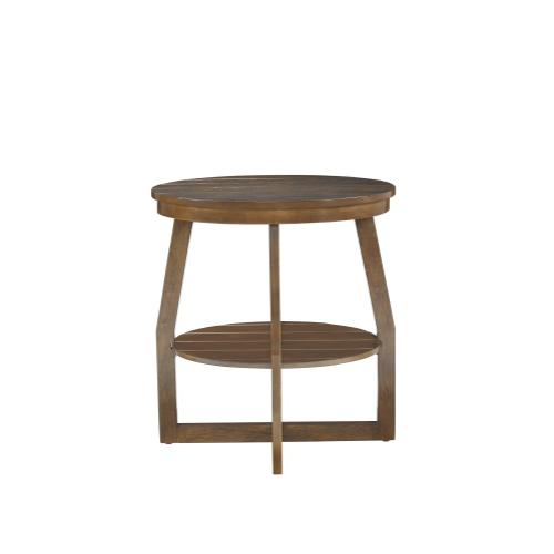 Oval Lower Shelf Accent Table, Brown