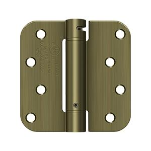 """4"""" x 4"""" x 5/8"""" Spring Hinge, UL Listed - Antique Brass"""