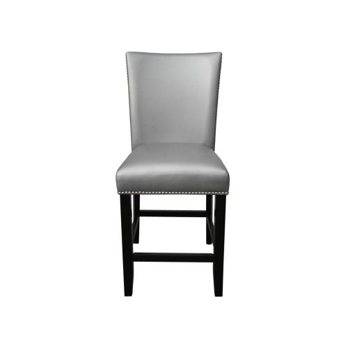 Camila Silver PU Counter chairW/ Nailhead