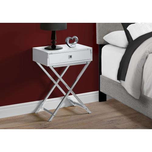 """Gallery - NIGHT STAND - 24""""H / GLOSSY WHITE / CHROME METAL"""