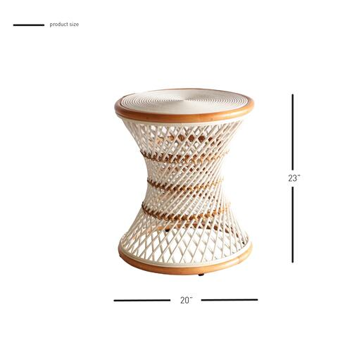 Kirby Rattan Round Side/ End Table, White