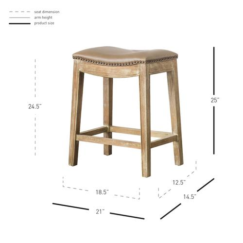 New Pacific Direct - Elmo Bonded Leather Counter Stool Weathered Smoke Legs, Vintage Taupe