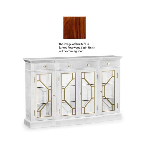 4-Door Breakfront Display Cabinet with Brass Details, Satin