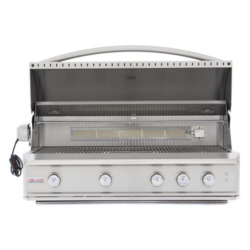 Blaze Professional 44-Inch 4 Burner Built-In Gas Grill With Rear Infrared Burner, With Fuel Type - Natural Gas