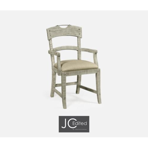 Planked Rustic Grey Armchair, Upholstered in MAZO