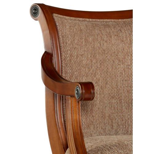 Upholstered Fabric Swivel Barstool, Lightly Distressed Warm Cherry