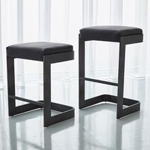 Regan Low Bar Stool w/Black Leather-Graphite