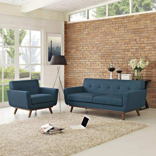 Engage Armchair and Loveseat Set of 2 in Azure